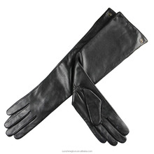 ladies fashion long lambskin leather opera length hand gloves