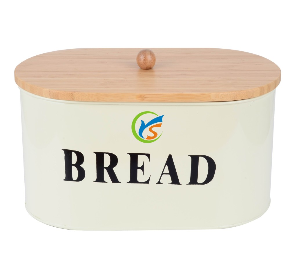 Food grade metal bread storage cans with wood cover