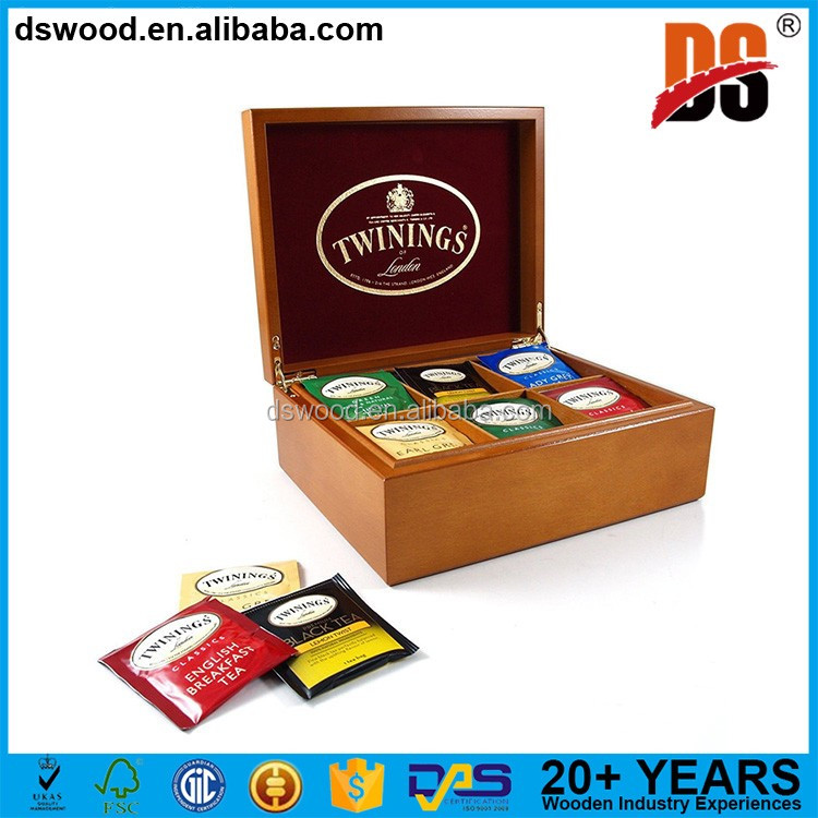 Custom logo 6 compartments wooden gift tea packaging box