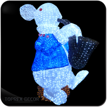 Outdoor xmas decor animated christmas figures with led light rabbit figurine plastic