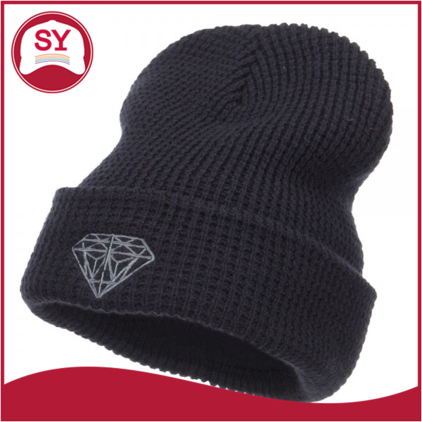 Stretchable Diamond Embroidered Waffle Cuff Beanie Hat