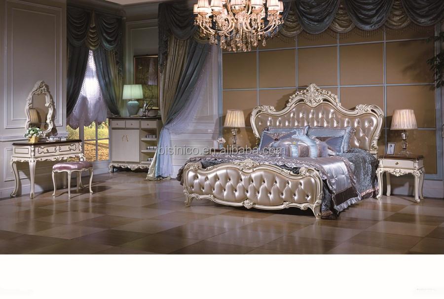 luxury leather bedroom furntiure set antique royal bed room furniture