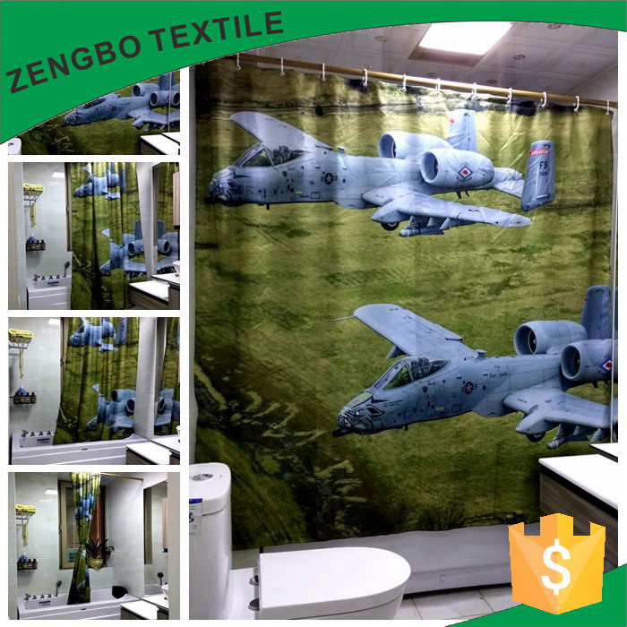 Battleplane Digital Print Polyester Pongee Shower Curtain in home