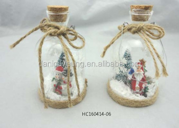 Hot Selling ornament hanging clear glass bottle with santa & snowman inside