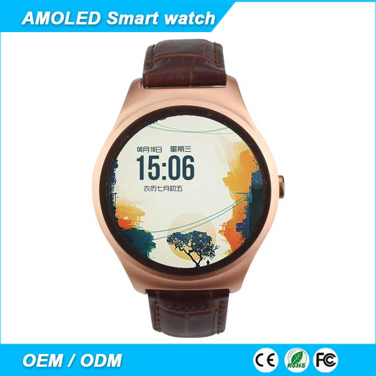 2016 fashion gold AMOLED 1.4 inch screen android smart watch