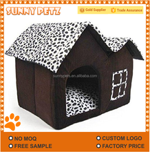 Double Roof Dog House Double Top Dog Hut Soft Warm Pet Dogs Cats Beds