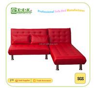2016 wood frame Red leather sofa bed set living room furniture