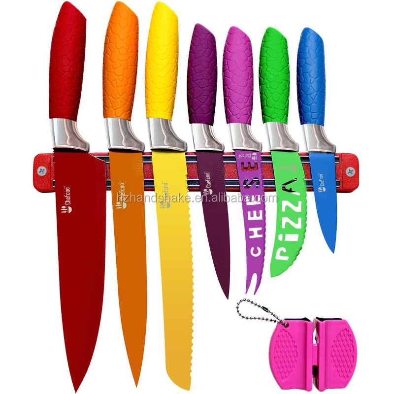 Kitchen All-in-One Cutlery Knife Set with Magnetic Strip and Sharpener