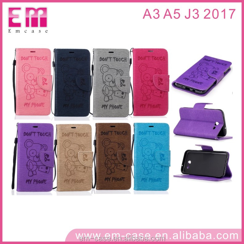 Phone Accessories new bear Mobile Flip leather phone case for samsung A3 2017