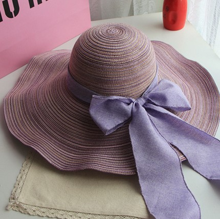 Wide brim ladies summer sunblock girl straw hat with bowknot for travelling