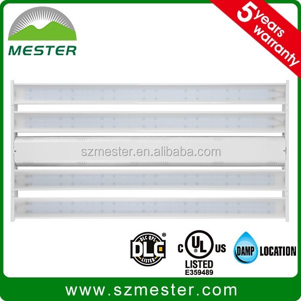 4' UL DLC listed 320W LED linear high bay with 0-10V dimmable motion sensor and emergency battery