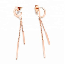 Marlary Wholesale Custom Latest C D Letter Design tassel Earrings Stud Jewelry Rose Gold Stainless Steel Tassel Long Chain