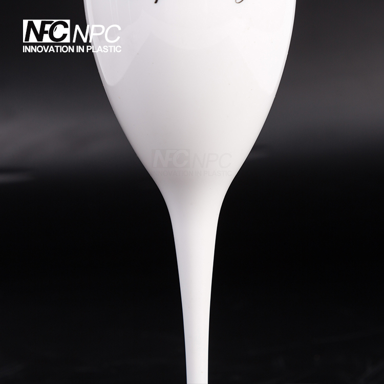 Stylish Disposable 135ml White Plastic Glass Champagne Flute for party clubs