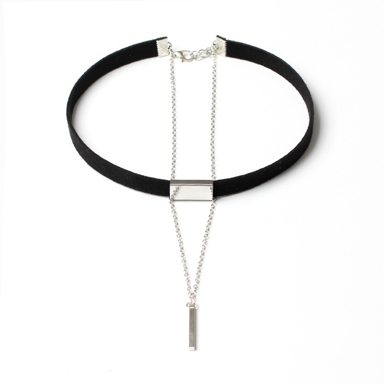 Hot Sale Black Velvet Long Chain Pendant Chokers Necklace for Women