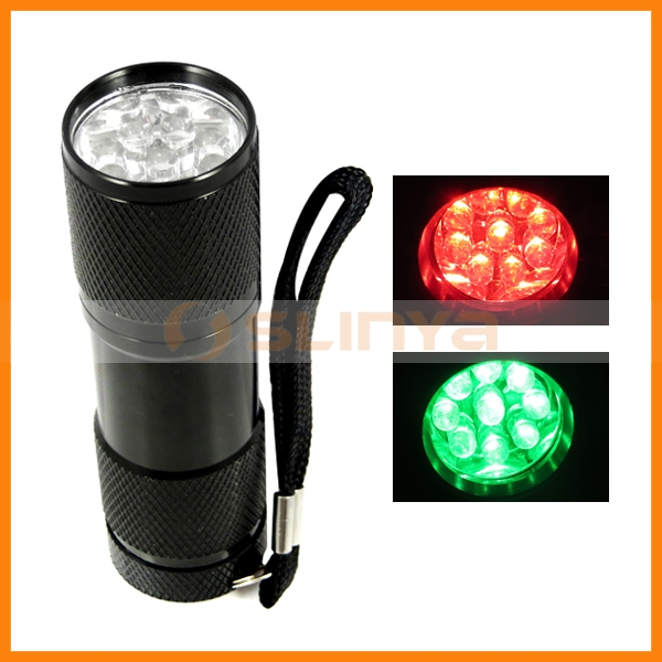 Aluminum Dry Battery 200lm Red Green Wild Hunting 9 LED Alloy Flashlight