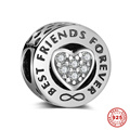 Best Friends Forever S925 Sterling Silver European Charm Beads For DIY Bracelet Necklace Jewelry Accessory 6pcs/lot DSP023