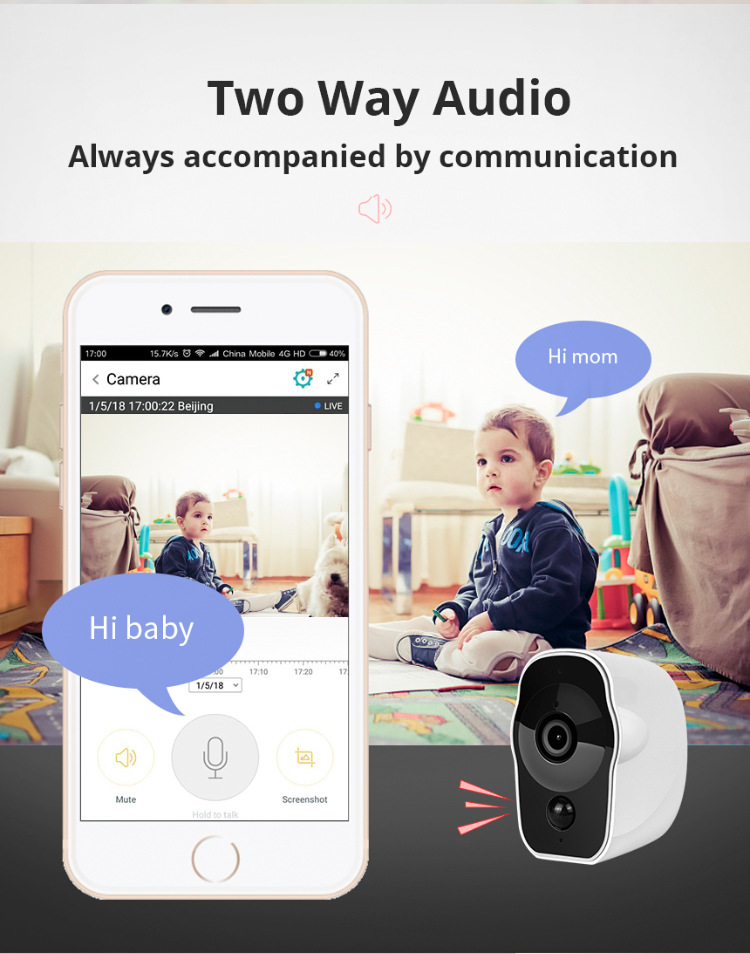 Inqmega\Shiwojia HD 1080P Low Power Smart Battery Camera Wireless Home Security CCTV IP Wifi Camera