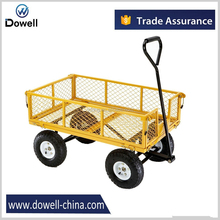 Four-wheel mesh metal garden cart with removable folding sides Garden trolley wagon TC1104