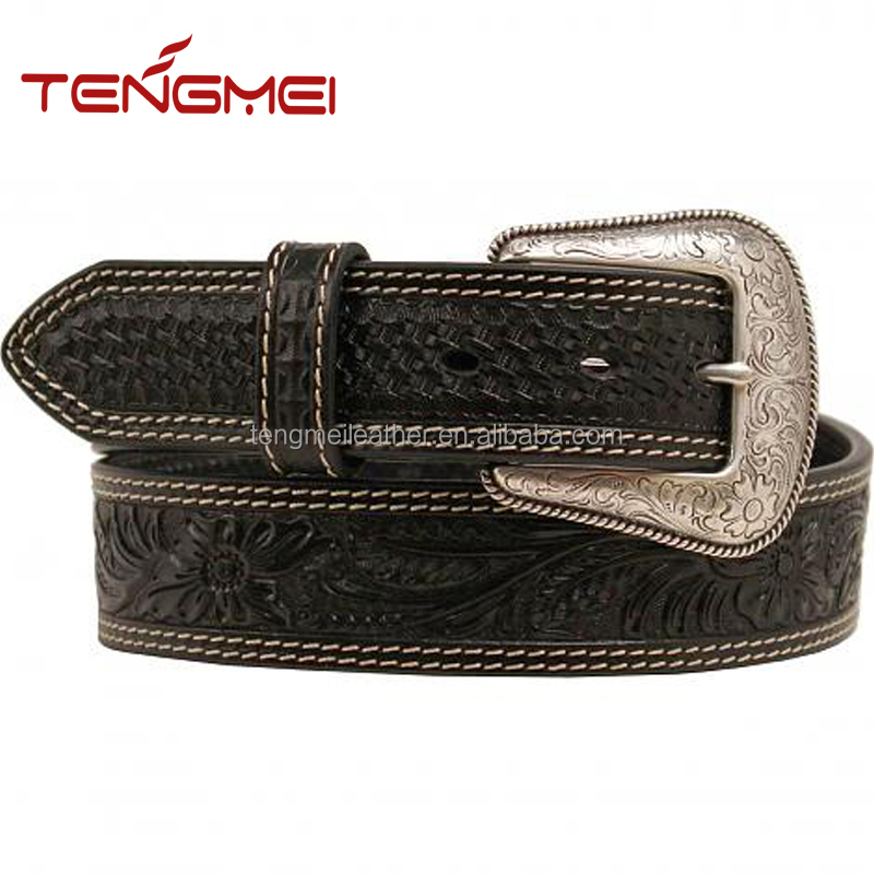 Black leather embossed oval concho western belts for men
