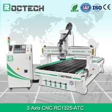 Roctech top quality Yaskawa servo motor and HSD spindle 1325 woodworking ATC cnc router / cnc router machine with high quality
