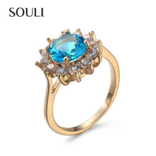 Fashionable hand made jewelry gemstone zircon gold plated finger ring