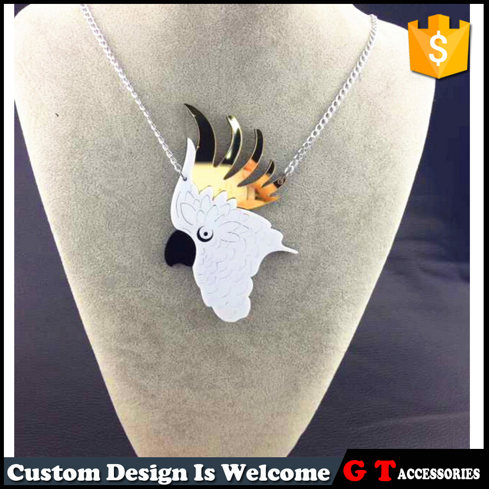 White Parrot Head Shaped With Gold Feathers On Head Pendant Acrylic Charm Neckalce