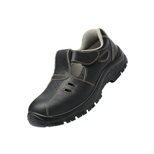 Summer breathable steel toe genuine leather man safety shoes working boots