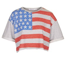 Subliamtion US flag t-shirts loss style women t shirts