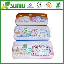 Fashion Carton Customized Print Metal High Quality Cute Rectangular Double Layer Tin Pencil Case