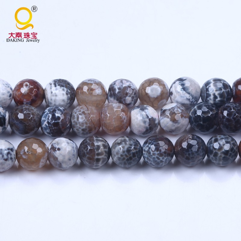 New arrive 12mm brown and white stone bead jewelry