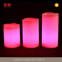 CE approve color box milky exterior dancing flame led candle