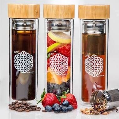 Logo customizable Bamboo lid Double wall glasss water bottle with fruit infuser bpa free