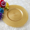 PZ22650 Wholesale wedding decoration rose gold glass charger plates