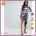 custom make party luxury metallic bodycon knot front slinky mini dress