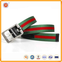 Wholesale High Quality Fashion Canvas Stripe Print Logo Custom Belt for men