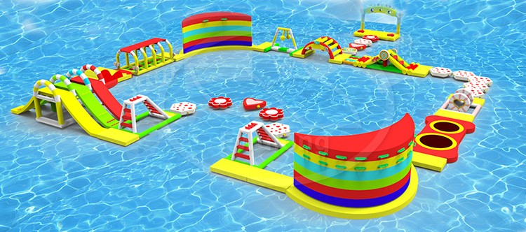 Hot sale original manufacturer indoor outdoor customized design inflatable water park/	inflatable floating water park