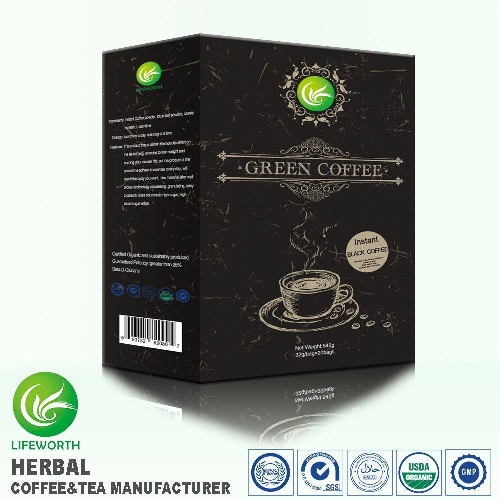 Lifeworth free private label design bio herbs black green coffee powder with small lot order available