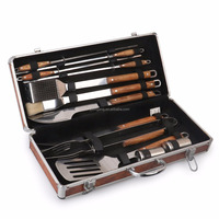 Pakkawood BBQ Grilling Tools Set in carry case