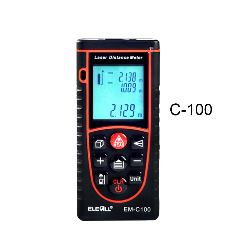 EM-<strong>C100</strong> 100m/328ft Digital Laser Distance Meter Bubble Level Rangefinder Area/Volume Tape Measure Laser Measuring Tool