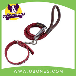 Real leather dog leash for big dog ,dog collars and leash