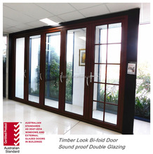 AS2047 Non Thermal Broken Double Glazed Aluminium Soundproof Veranda Glass Folding Door