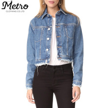 wholesale women short trucker denim jacket frayed hems jean jacket