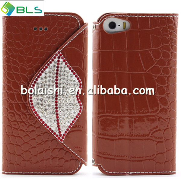 2014 new design wallet case bling for apple iphone5 leather cases