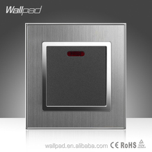 20A/45A Switch Wallpad Hotel Luxury Silver Satin Metal 20A/45A Wall Light Electrical Switch with LED Night Backlight