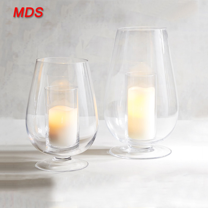 Top quality unique double-wall glass hurricane candle holder