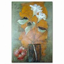 Flower batik canvas oil painting