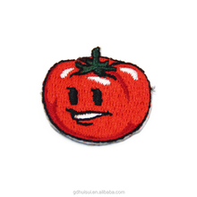 Promotional and high quality tomato face shaped embroidered logo custom patches for clothing