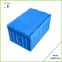 Lid attached plastic foldable container house