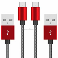 Fishnet Nylon Braided Micro USB Cable USB Data Cable With Spring