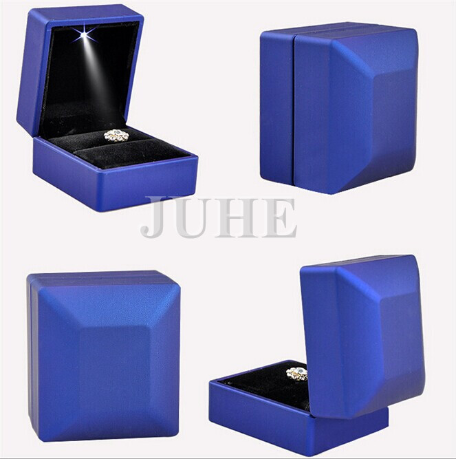 leather box for ring painting material led light jewelry box